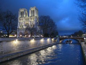 River at night in Paris